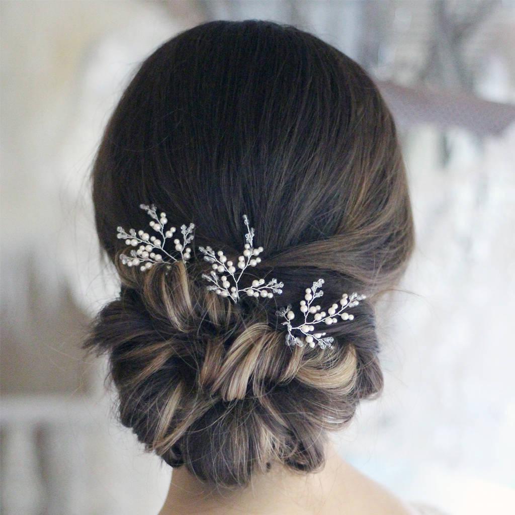 Swarovski Crystal And Pearl Hair Pins X Three By Donna