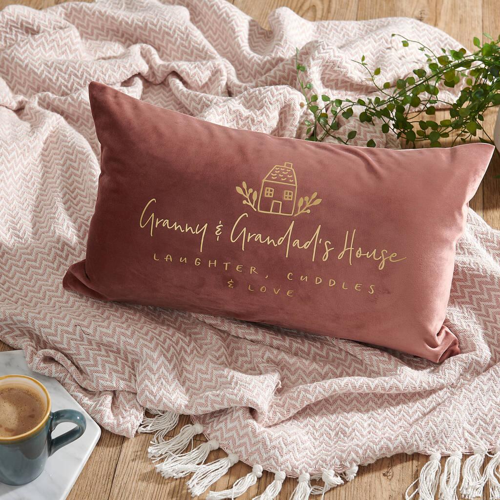 personalised grandma velvet cushion
