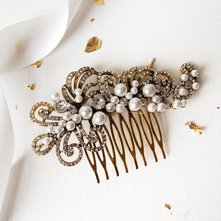 Pearl Filigree Wedding Hair Comb By Highland Angel