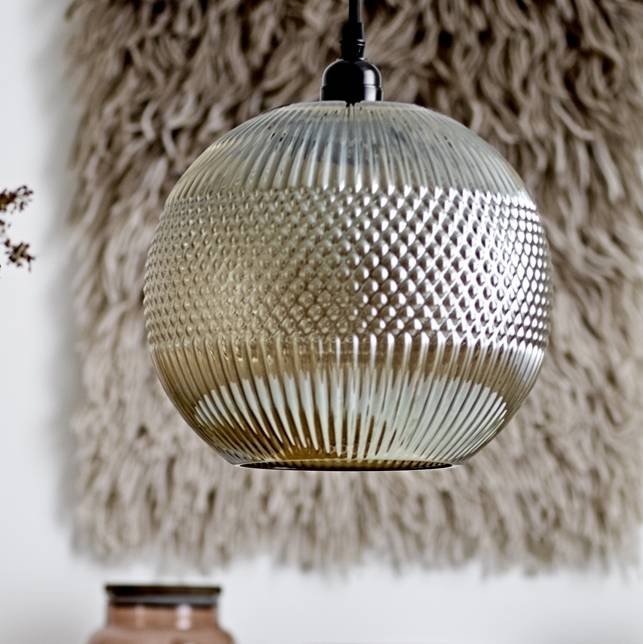 Round Smoked Glass Ceiling Light Pendant Chandelier