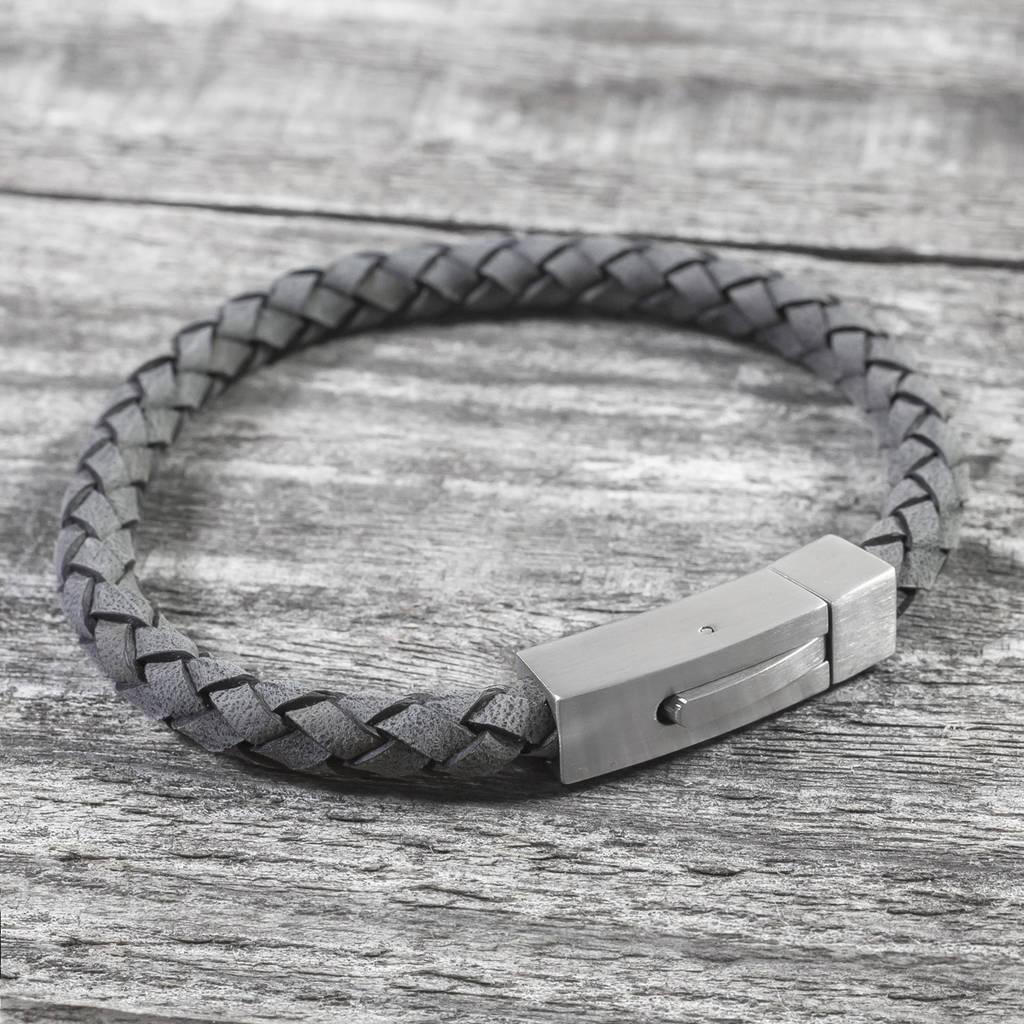 Personalised Brushed Steel Hidden Message Bracelet By