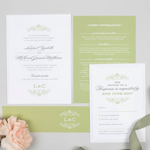 Traditional Monogram Eva Wedding Invitation