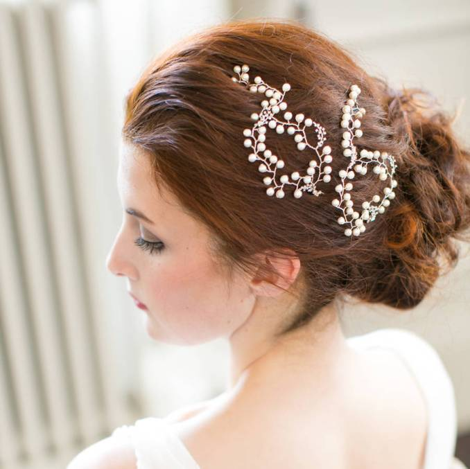 baby's breath pearl wedding hair vine pins