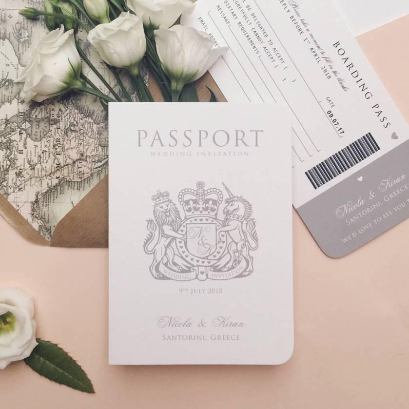 Around The World Wedding Pport Invitation