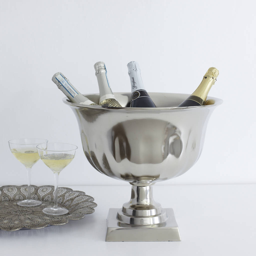 Silver Pedestal Champagne Cooler By Primrose Amp Plum