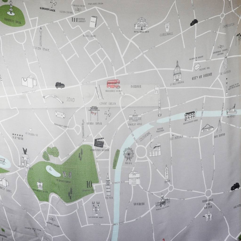 london map scarf by lisa angel   notonthehighstreet com Illustrated London Map Scarf