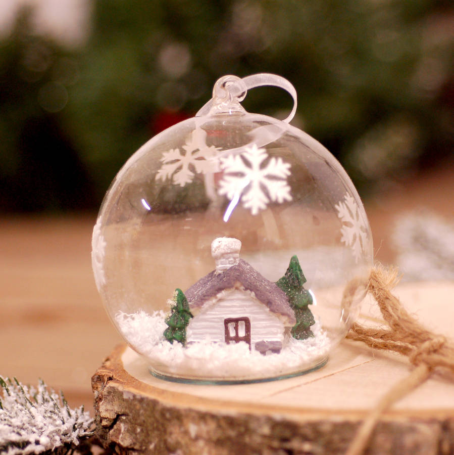 Glass Christmas Woodland Hanging Tree Bauble Decoration By