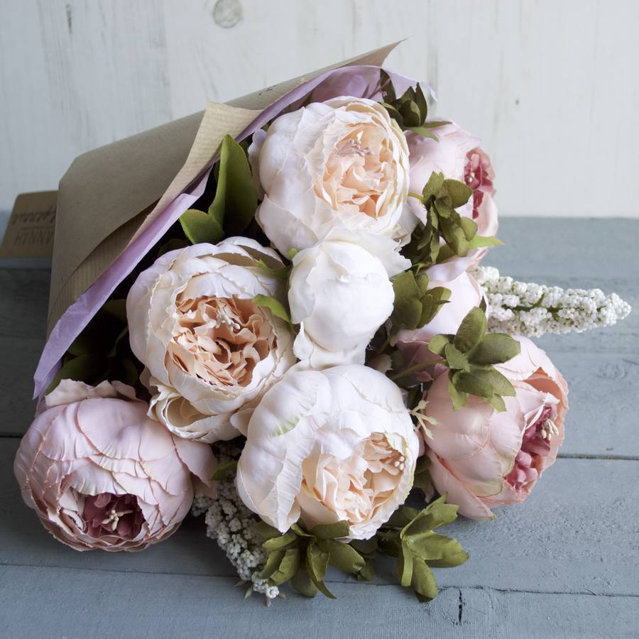 blush peony hand tied faux flower bouquet by hannah halfpennie     Single Bunch Faux Blush Peony