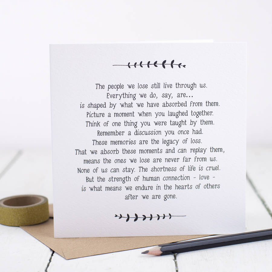 Sympathy Bereavement Loss Card By Bespoke Verse