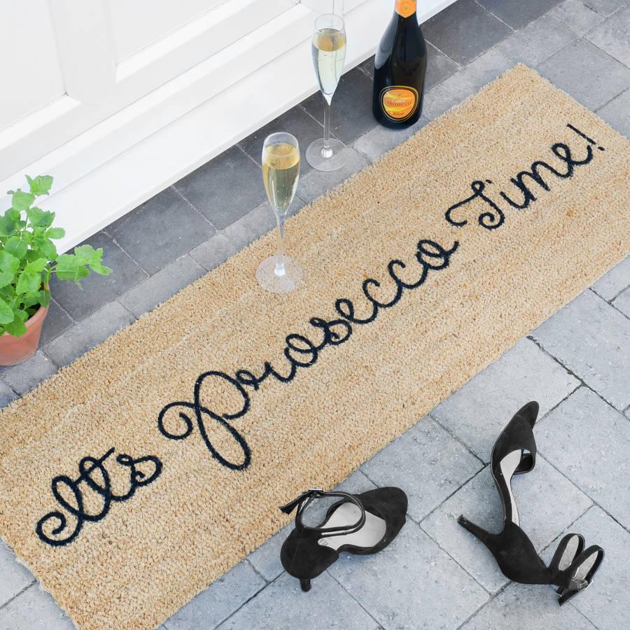 its prosecco time patio door mat