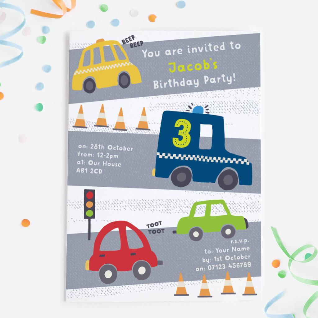 Car Themed Birthday Party Invitations By Mondaland Notonthehighstreet Com