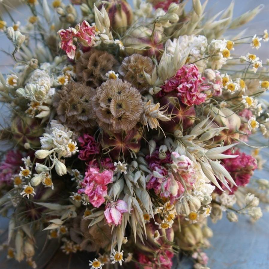 Country Dried Flower Wedding Bouquet By The Artisan Dried