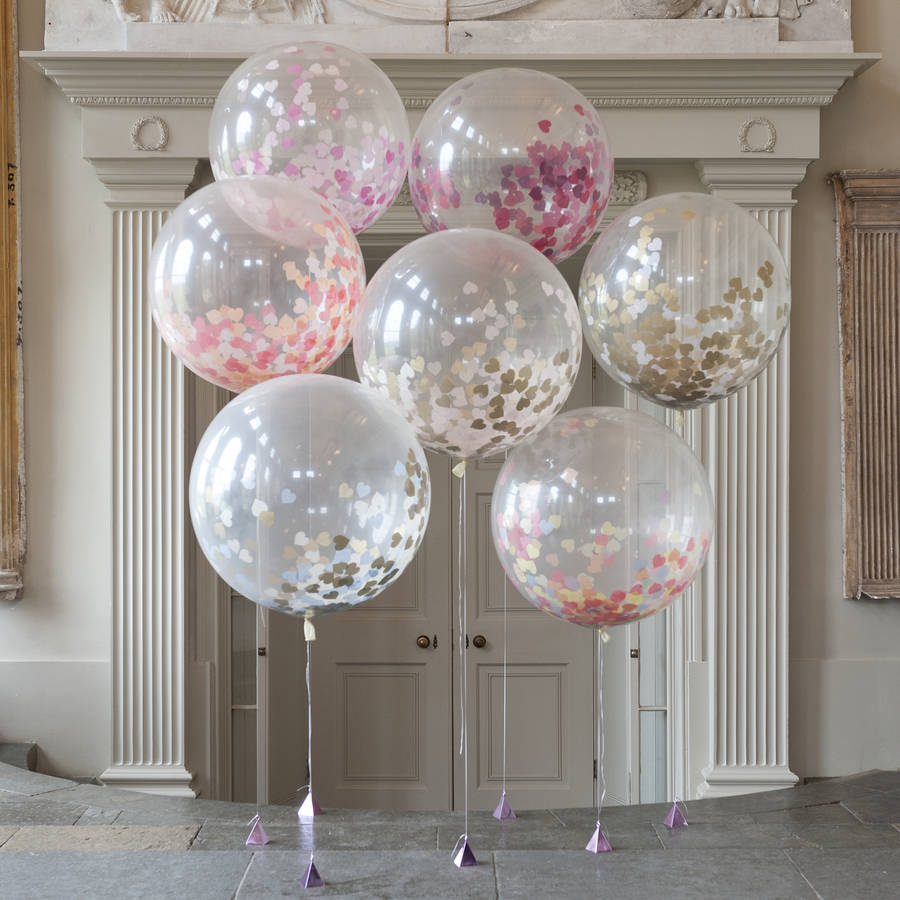 Giant Heart Confetti Filled Balloons By Bubblegum Balloons