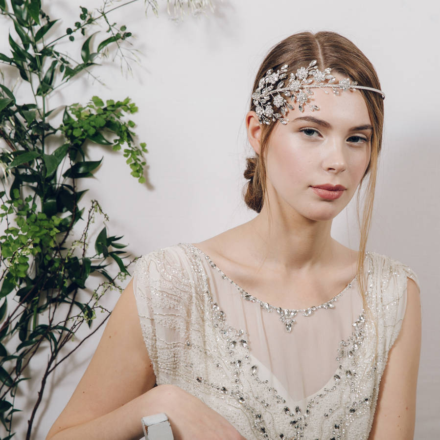 crystal and pearl vintage wedding headband etta