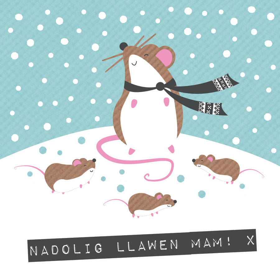 Welsh Mouse Christmas Mam Card Nadolig Llawen Mam By