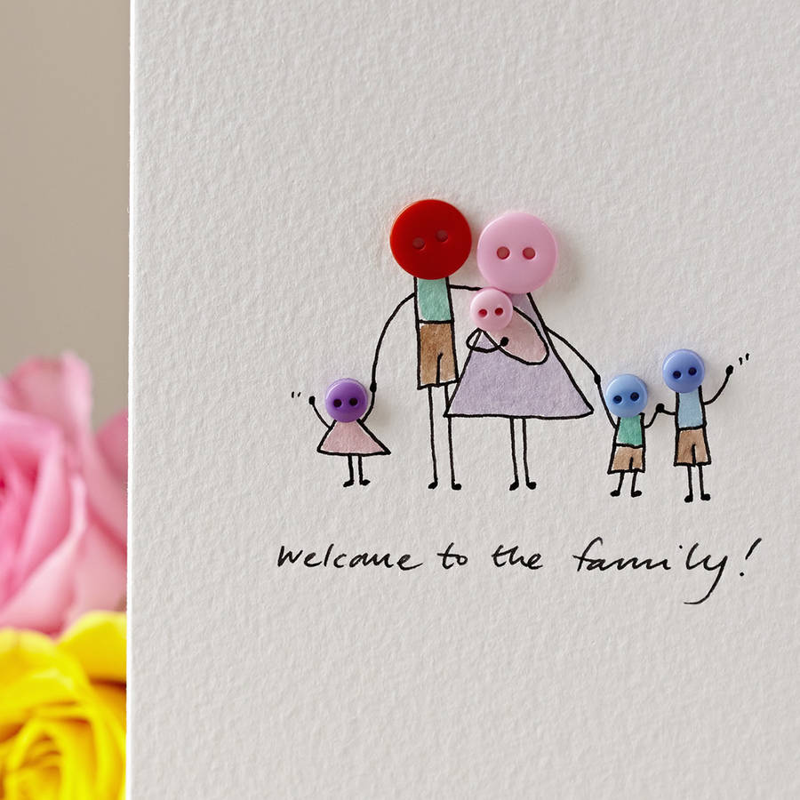 Personalised Button Family Hand Illustrated Card By