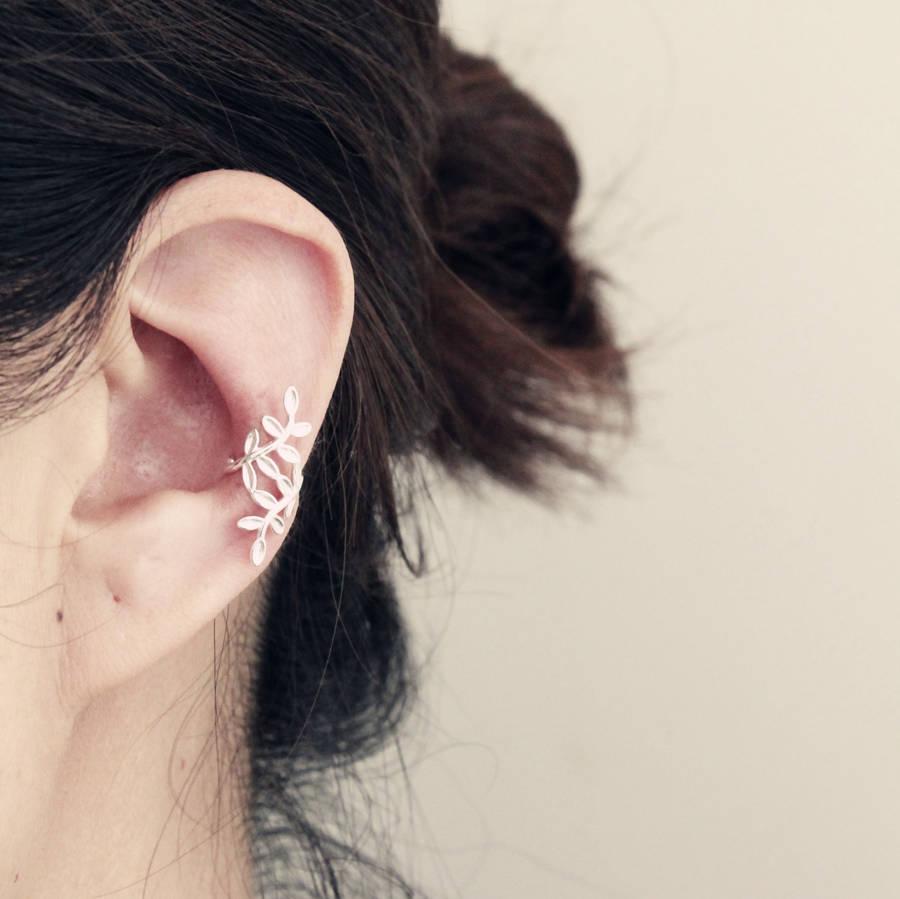 Sterling Silver Leaf Design Ear Cuff By Attic