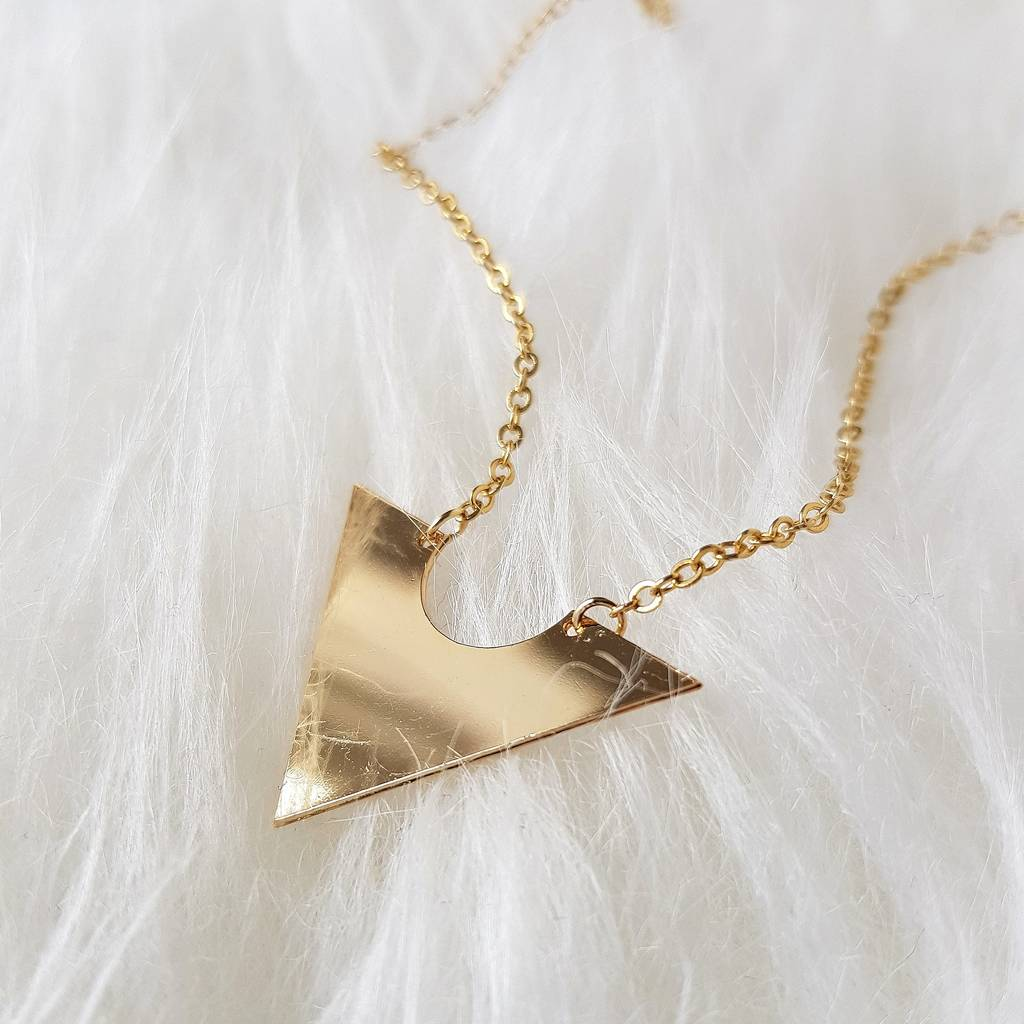 Minimal Gold Triangle Necklace By Misskukie