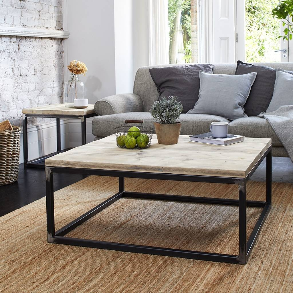 Reclaimed Wood Coffee Table With Raw Steel Box Frame By Rust Collections Notonthehighstreet Com