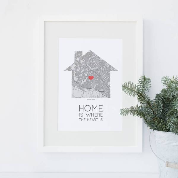 home is where the heart is  map print by paperpaper      Home Is Where The Heart Is  Map Print
