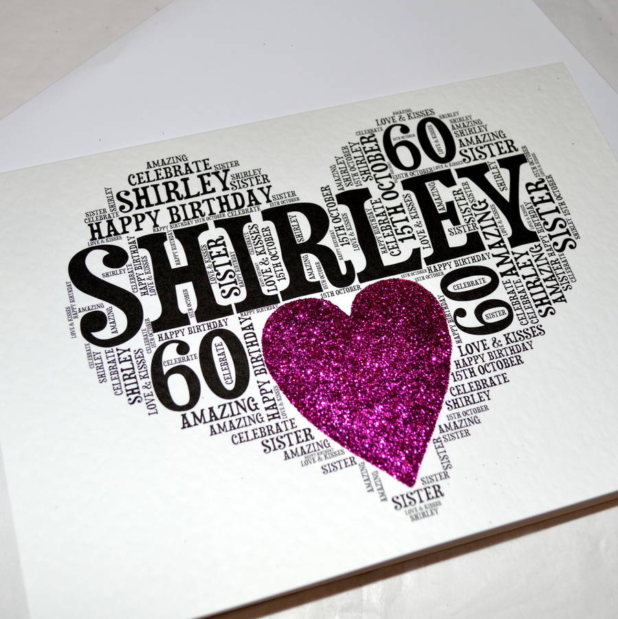 Personalised 60th Birthday Sparkle Card By Sew Very English