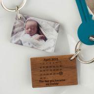 Personalised Photo Wood And Acrylic Calendar Keyring