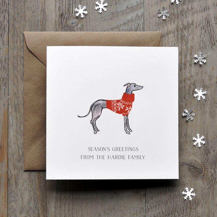Greyhound Whippet Christmas Card By Honey Tree Publishing