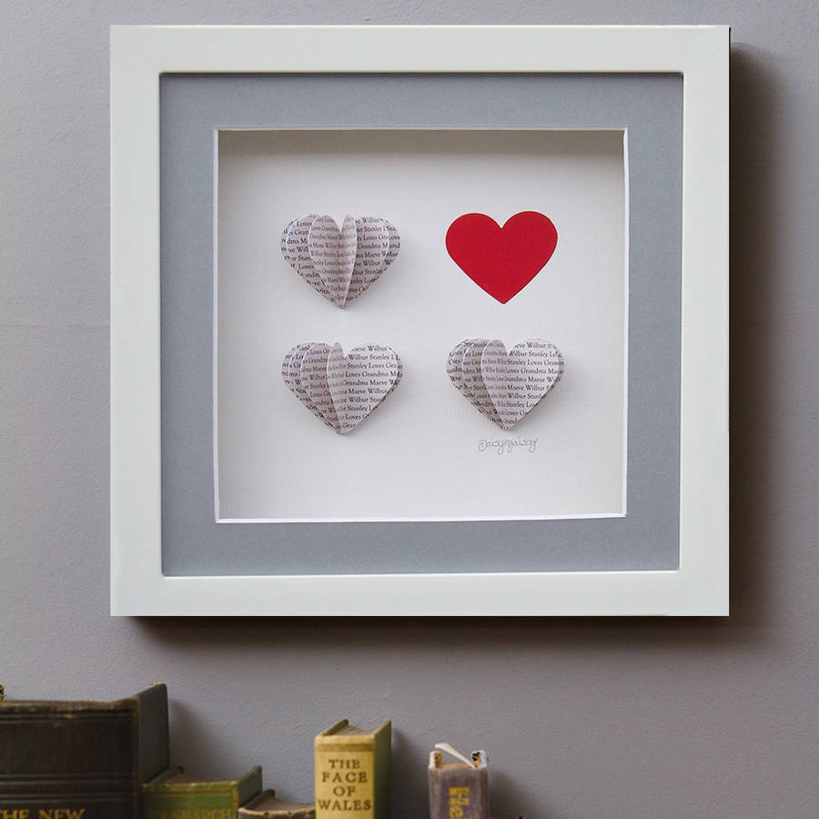 Framed Personalised 3d Box Of Hearts By Daisy Maison