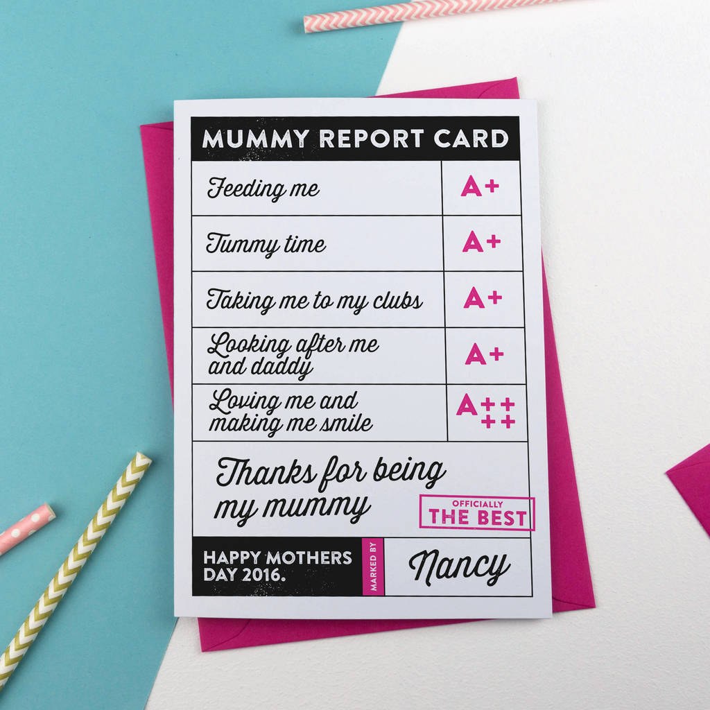 Mothers Day Report Card Personalised By A Is For Alphabet
