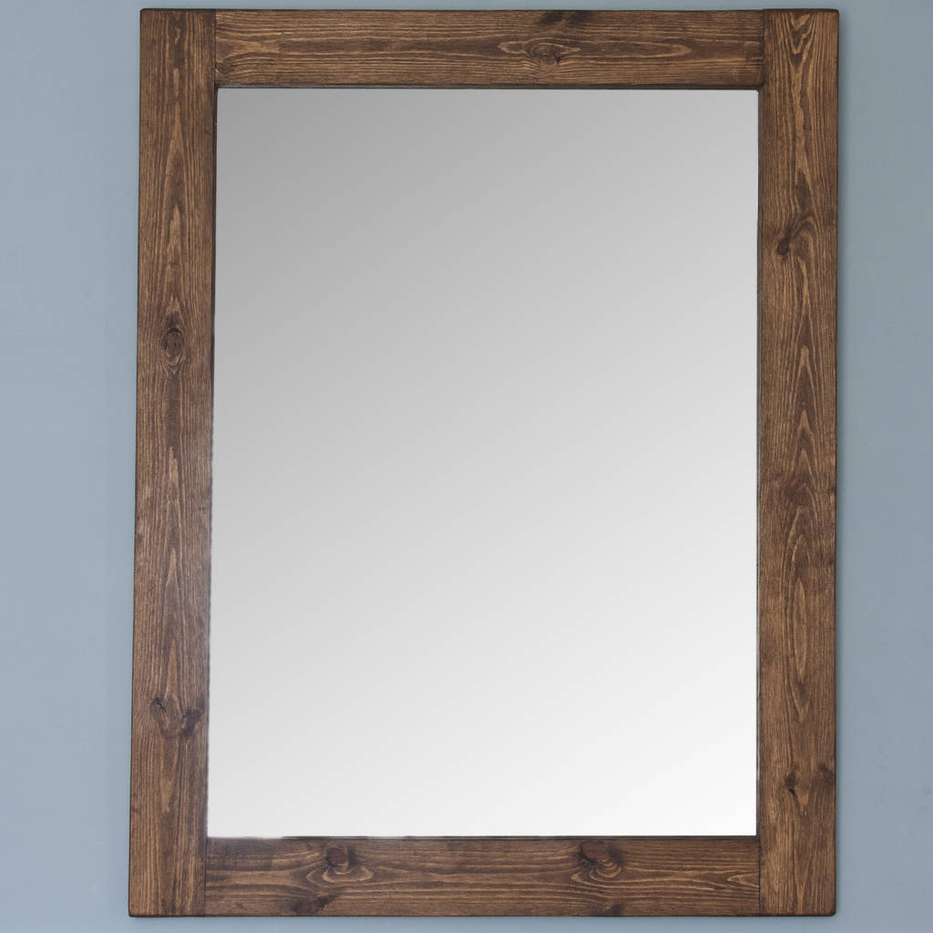 altan small wooden framed mirror in