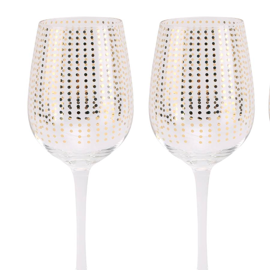 Gold Polka Dot Wine Glass