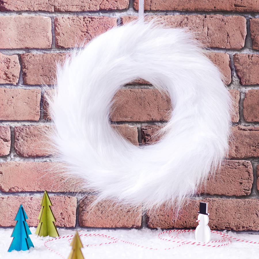 White Faux Fur Wreath By The Best Room