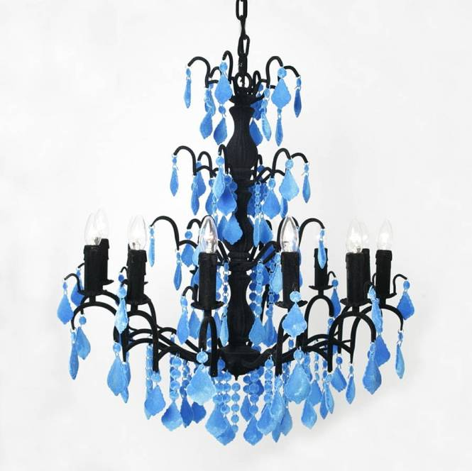 Flocked Jasmine 12 Bulb Chandelier In Black Fluorescent Blue