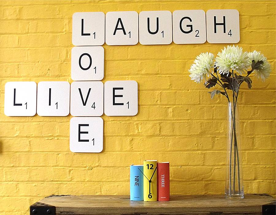 Live Laugh Love Giant Scrabble Wall Tiles By Copperdot