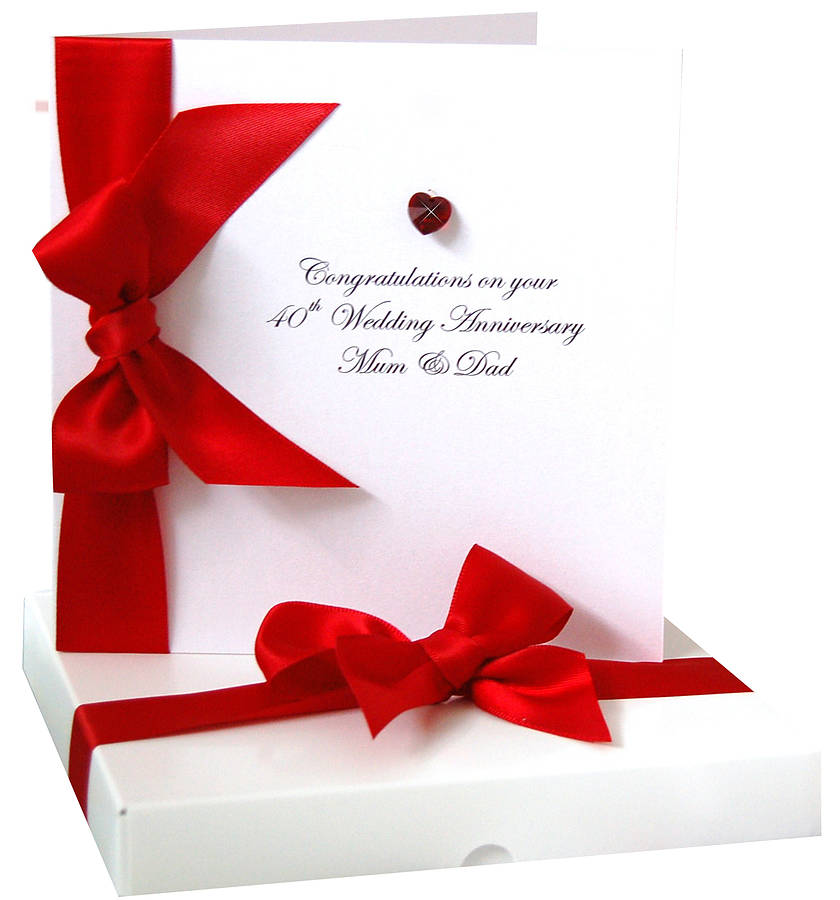 Bedazzled Ruby Wedding Personalised Anniversary Card By