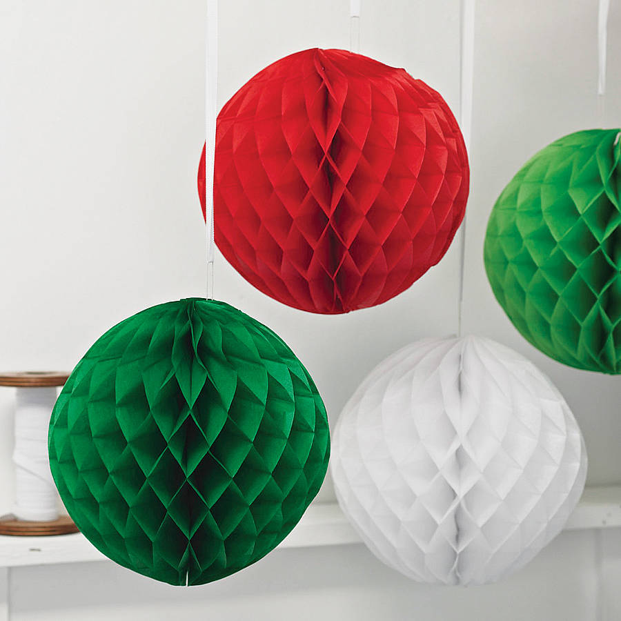 Paper Tissue Fan Christmas Decorations By Pearl And Earl: Honeycomb Tissue Paper Christmas Decorations