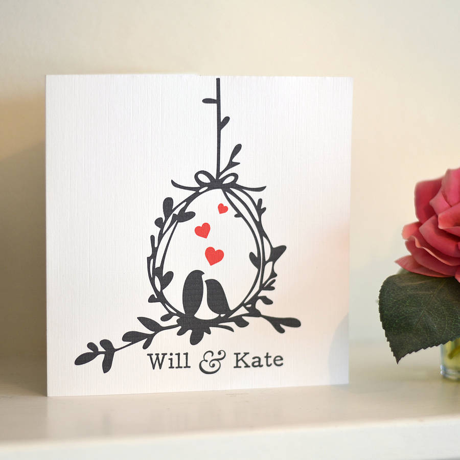 Love Birds Personalised Anniversary Card By Oakdene