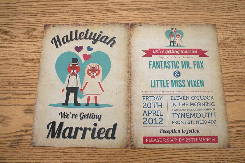 Fo Themed Retro Wedding Invitation