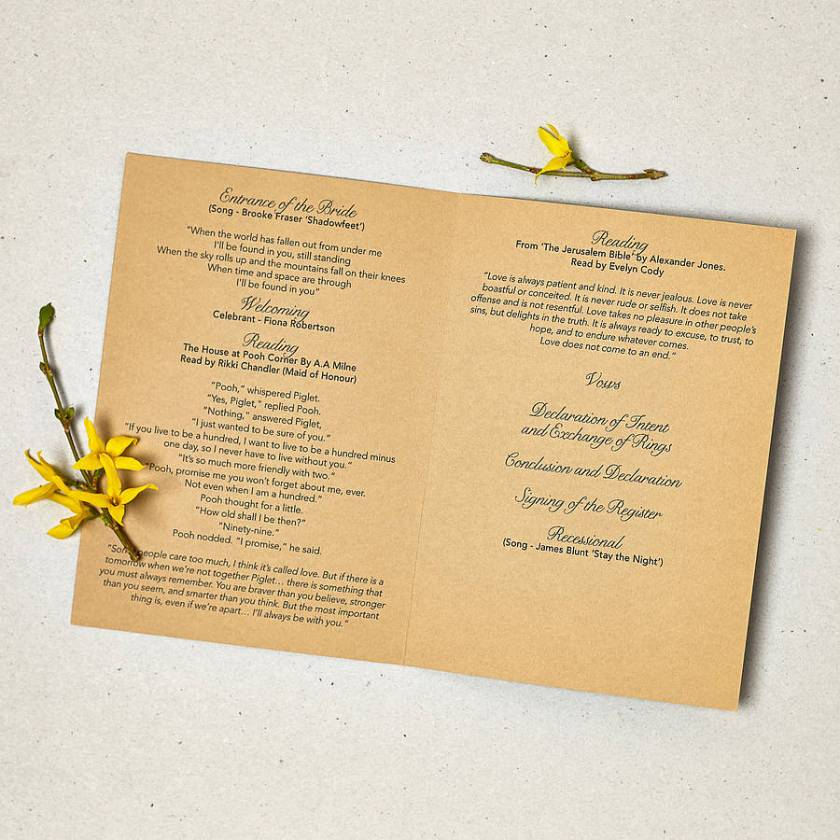 Rustic Order Of Service Inner