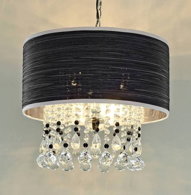 Crystal Pendant Chandelier With Fabric Shade