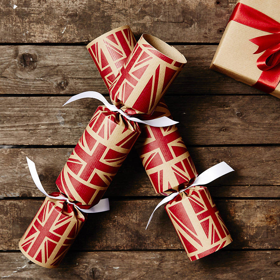 Recycled Union Jack Christmas Crackers By Sophia Victoria