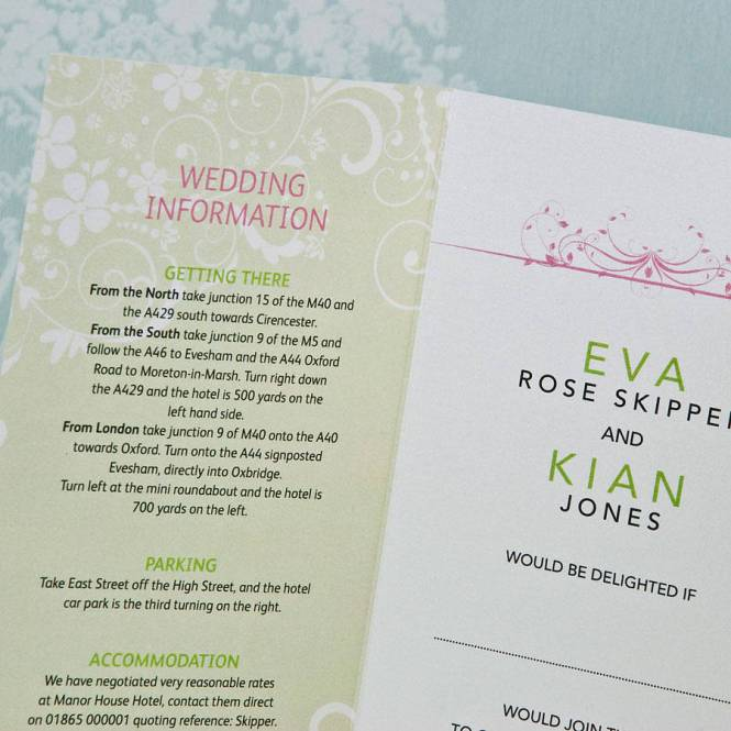 Alexandra And Joshua One Side Of Tri Fold Wedding Invitation
