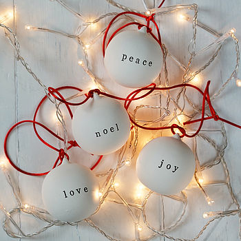 Personalised Christmas Bauble Peace Love Noel Joy