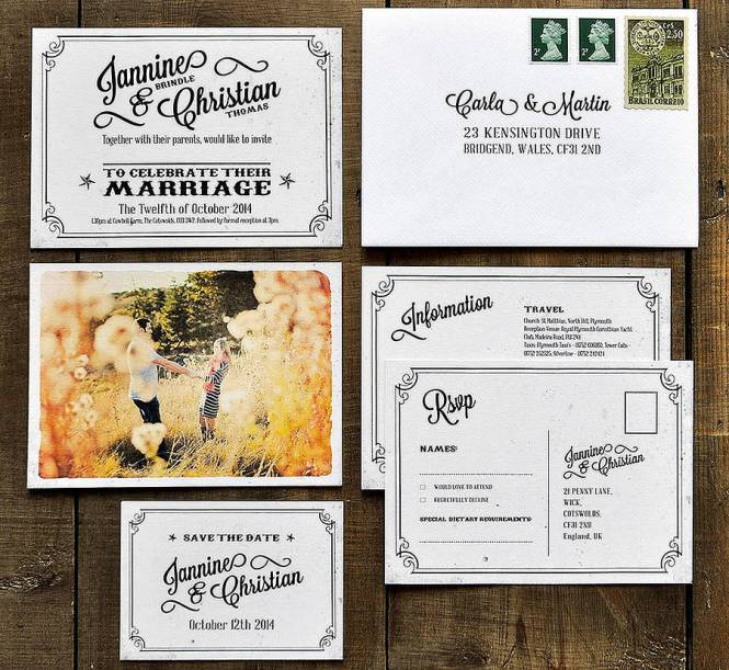 Postcard Wedding Invitations Cobypic Com
