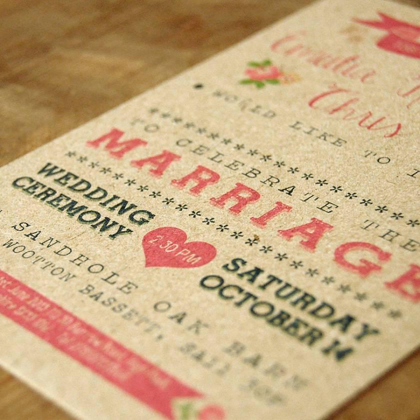 Vine Country Kraft Wedding Invitation Detail