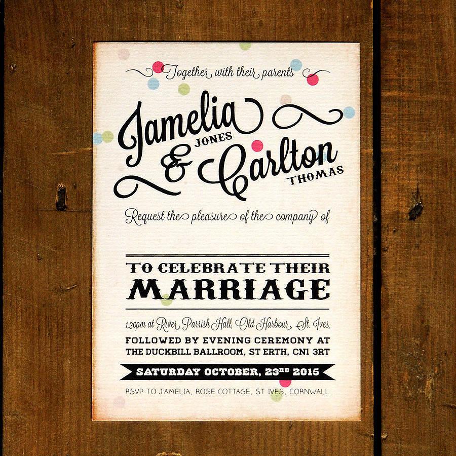 Personalised Wedding Invitation Wording