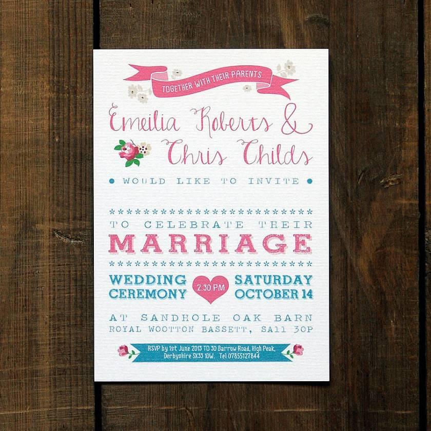 Pink Blue Vine Country Wedding Invitation