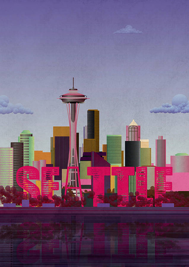 Print Of Seattle Skyline By Lime Lace