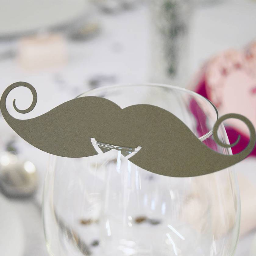 Pack Of 10 Moustache Gl Name Place Cards