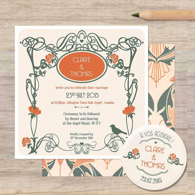 Art Nouveau Style Wedding Invitations